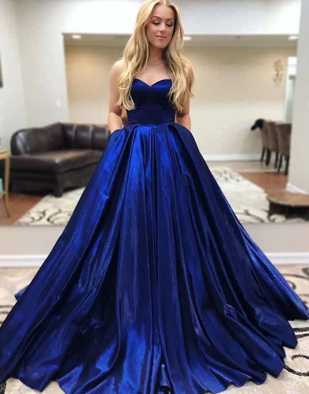 Simple blue satin long prom dress, blue evening dress