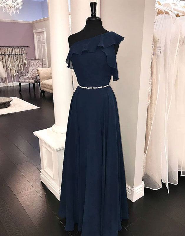 Dark blue chiffon long prom dress, blue bridesmaid dress
