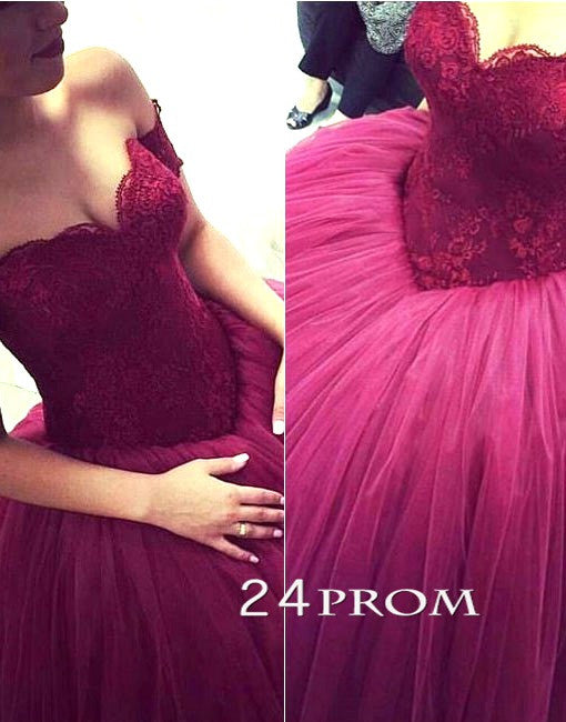 Custom Made Sweetheart Lace Tulle Long Prom Gown, Formal Dress, Sweet 16 Dress