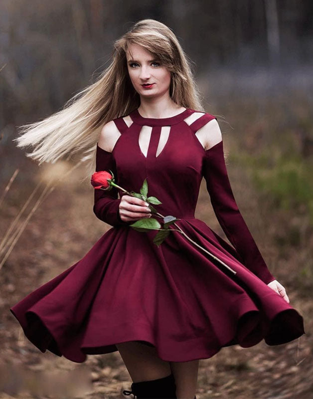 Simple burgundy short prom dress, burgundy homecoming dress