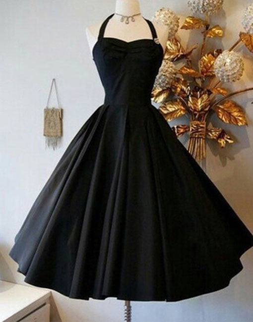 Black Retro short prom gown, retro prom dresses