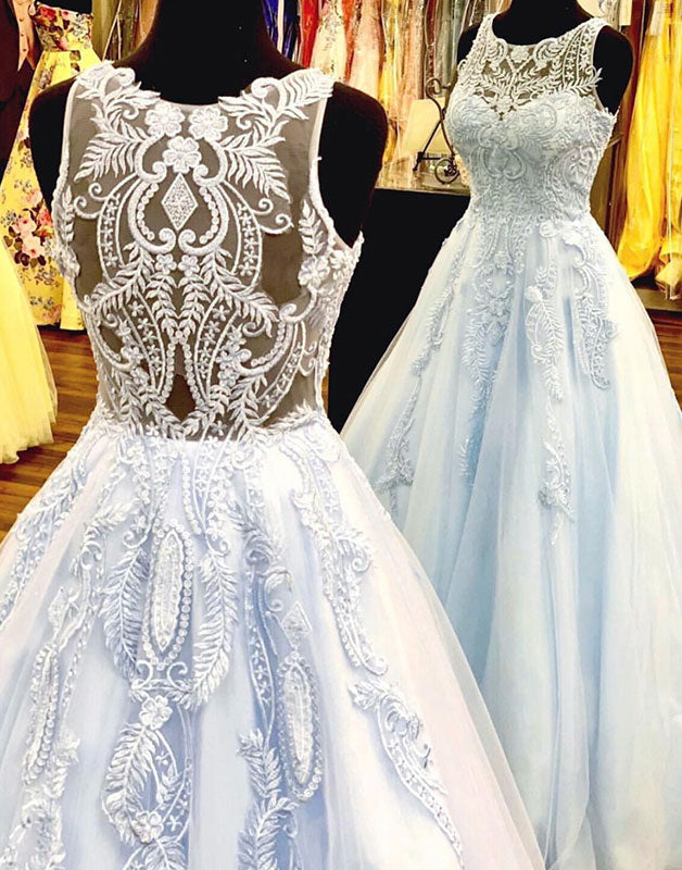 Blue tulle lace long prom dress, light blue tulle evening dress