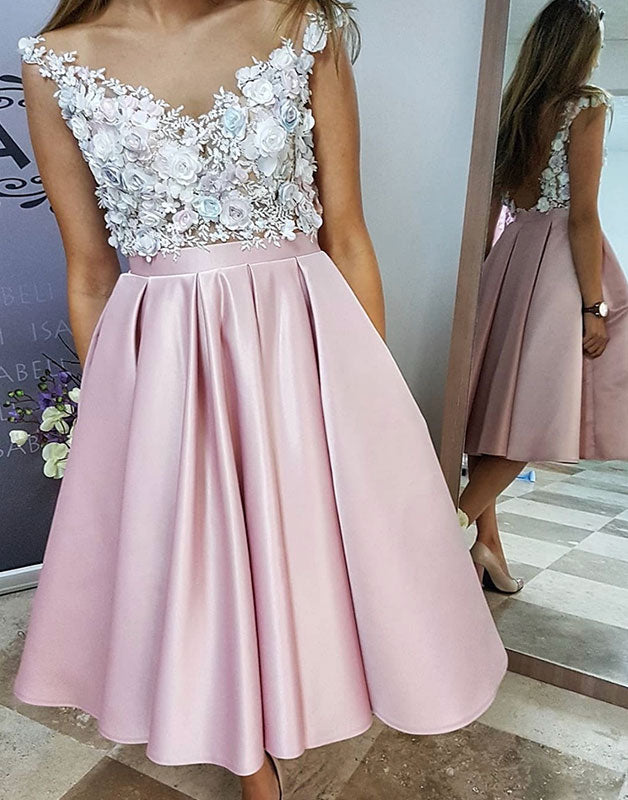 Pink v neck 3 d applique short prom dress, pink homecoming dress