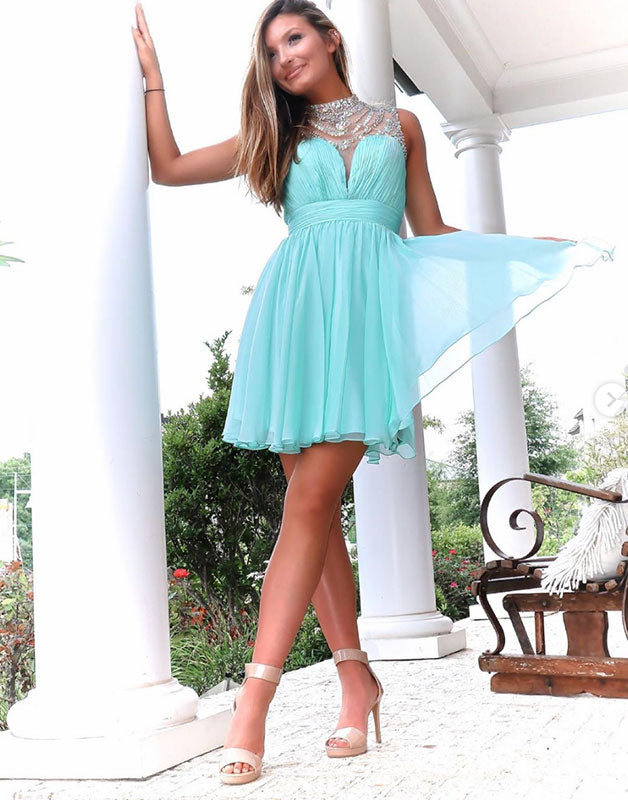 Green chiffon short beads prom dress homecoming dress