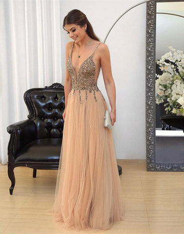 A-line v neck beads tulle long champagne long prom dress, evening dress