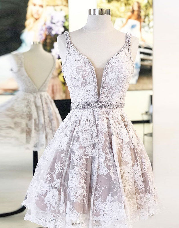 Cute v neck tulle lace short prom dress lace homecoming dress