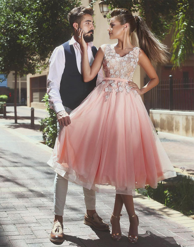 Pink v neck applique tulle prom dress, pink evening dress