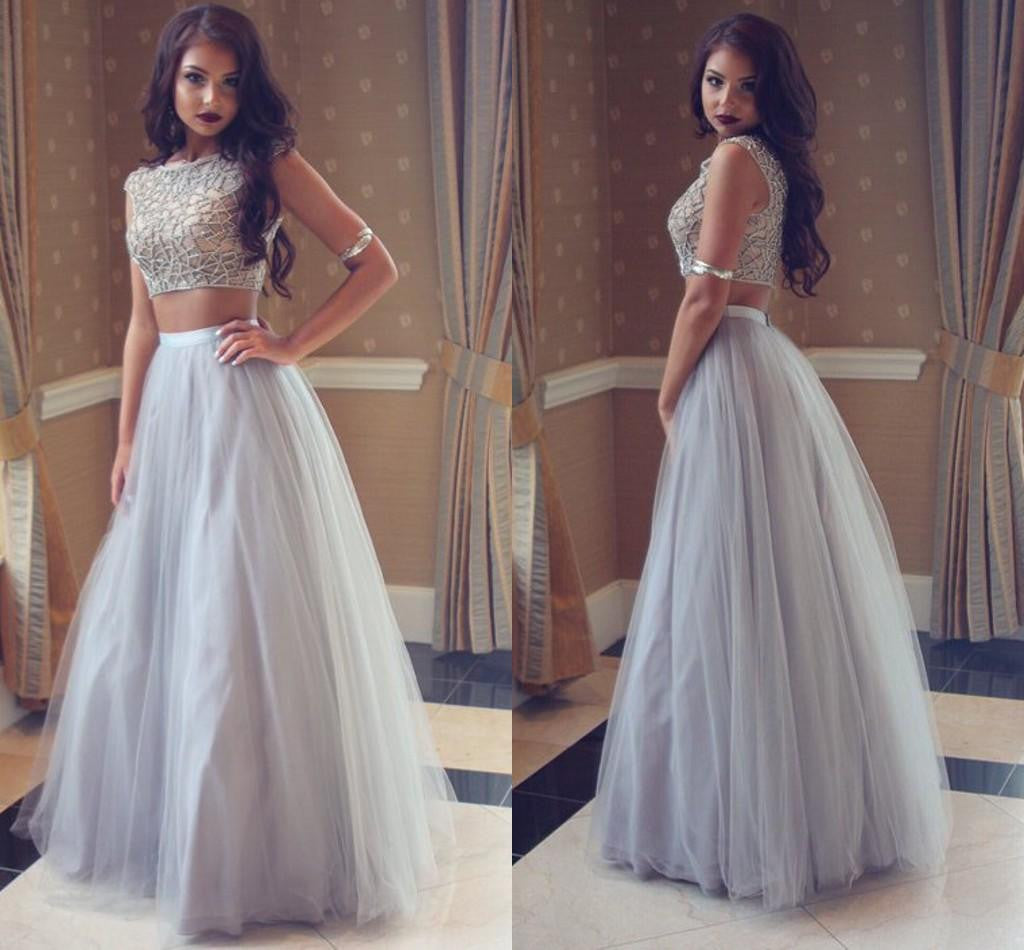 Unique Gray tulle two pieces long prom dress, gray evening dress