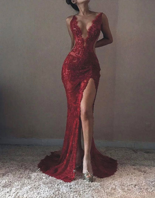 Unique burgundy v neck mermaid lace long prom dress, burgundy evening dress