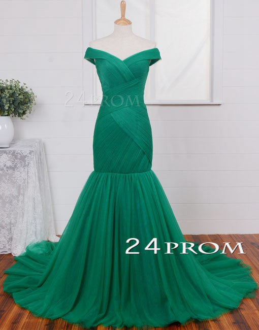 Sweetheart Neck Green Tulle Long Prom Dresses, Evening Dresses