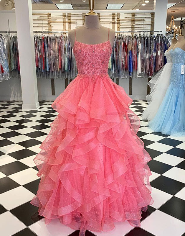 Pink sweetheart tulle beads sequin long prom gown pink evening dress