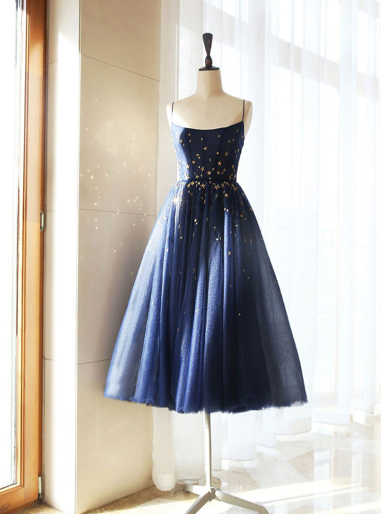 Blue A-line tulle short prom dress blue tulle formal dress
