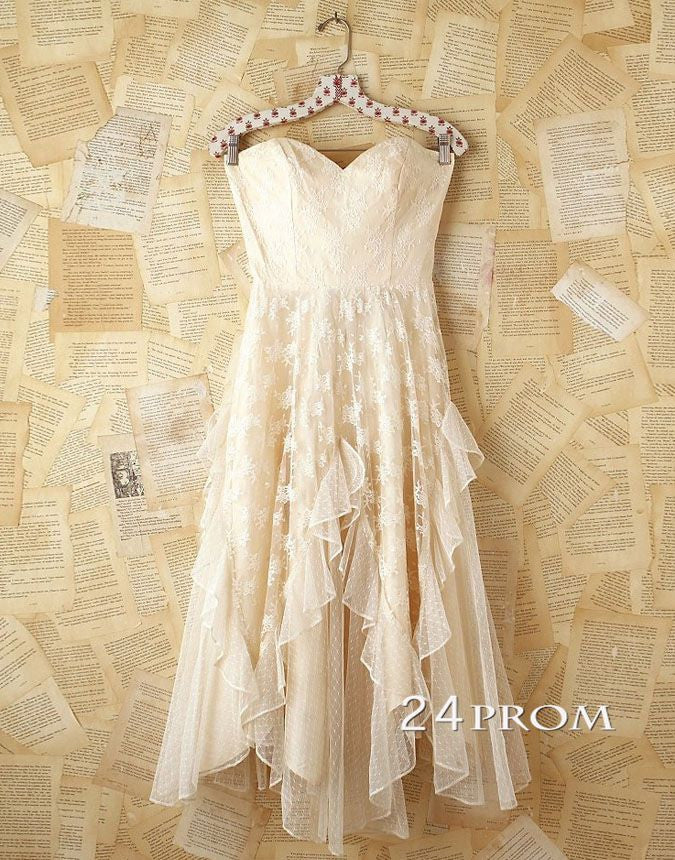 Custom Made A-line Short Lace Prom Dress,Homecoming Dress, Bridesmaid Dress