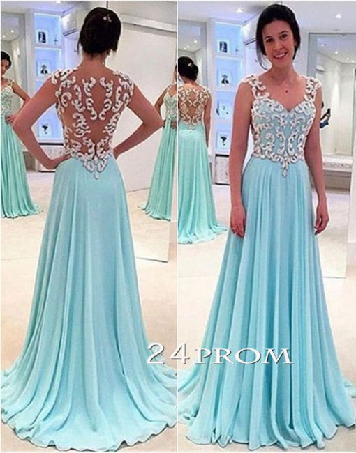 A-line Sweetheart Blue Long Prom Dresses, Evening Dresses