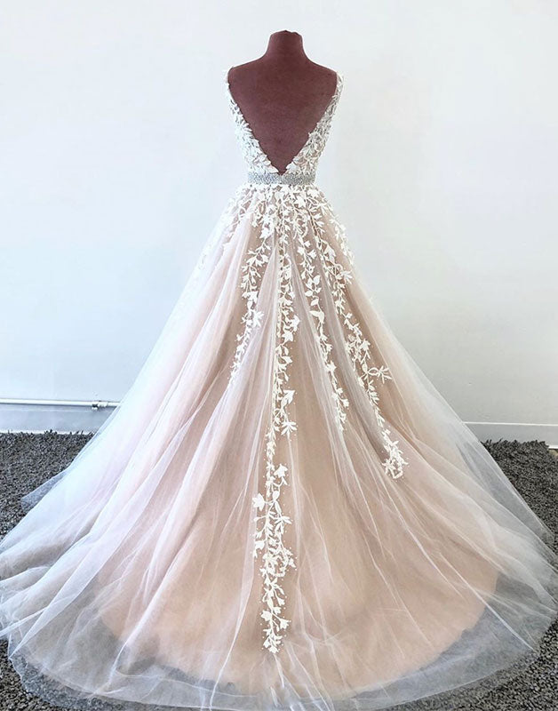 Champagne v neck tulle lace long prom dress champagne lace evening dress