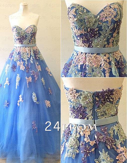 A-line Sweetheart Lace Applique Long Prom Dresses