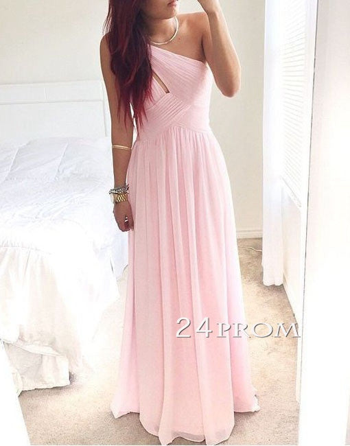 Pink A-line one shoulder Chiffon Long Prom Dresses