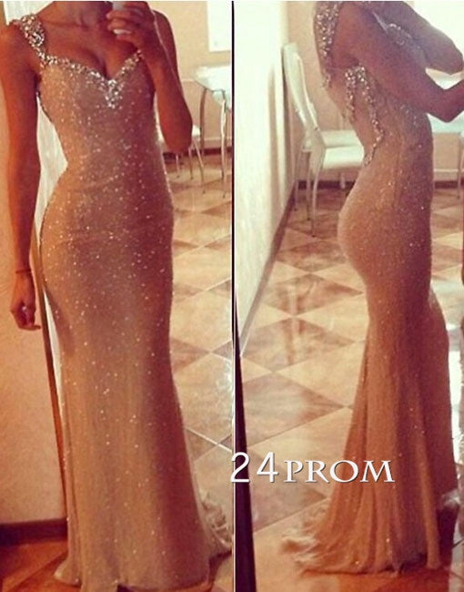 Custom Made Sweetheart neckline Sequin Long Prom Dresses, Formal Dresses
