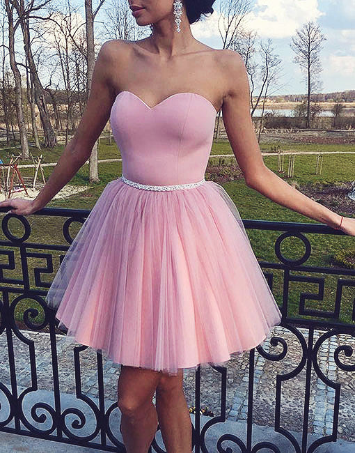 Simple sweetheart pink tulle short prom dress, pink homecoming dress