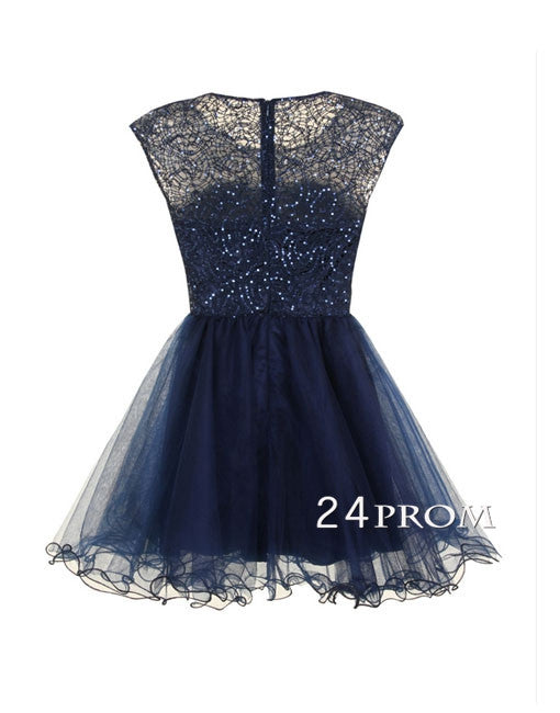 Custom Made A-line round neckline Lace Prom Gown, Homecoming Dress