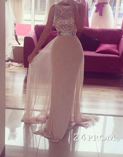 Custom Made A-line Round Neck Chiffong Long Prom Dress, Formal Dress