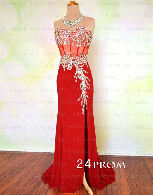 Red Chiffon Sweetheart Long Prom Dress,Formal Dresses