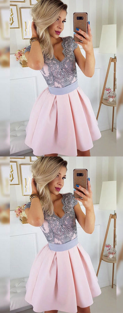 Pink lace satin short prom dress, pink lace homecoming dress