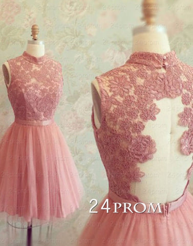 A-line Lace Tulle Short Prom Dresses,Homecoming Dresses