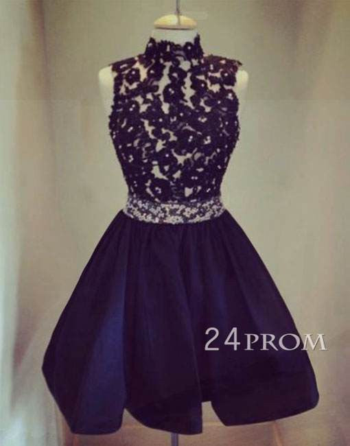 Black Sequin Lace Short Prom Dress,Homecoming Dress