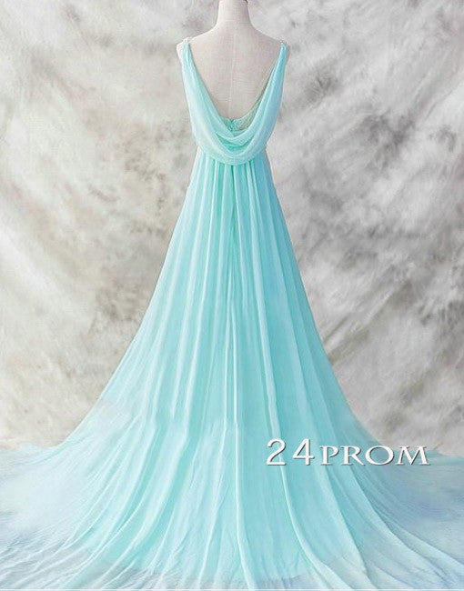 Simple A-line Chiffon Round Neck Long Blue Prom Dresses, Evening Dresses