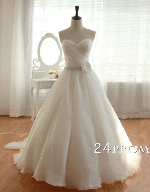 White Sweetheart neckline Organza Wedding Gown, Wedding Dress