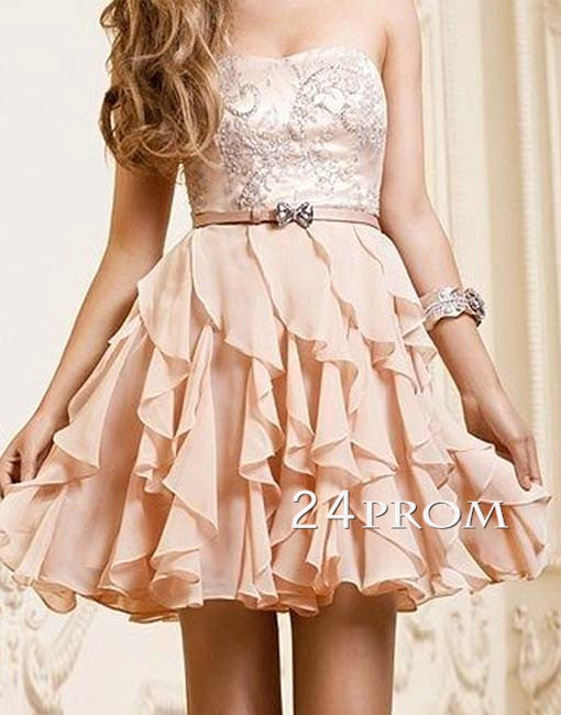 Sweetheart A-line Chiffon Short Prom Dresses, Homecoming