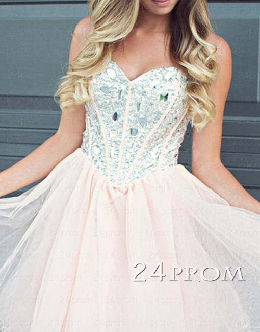 Sweetheart A-line Rhinestone Tulle Short Prom Dresses, Homecoming Dresses