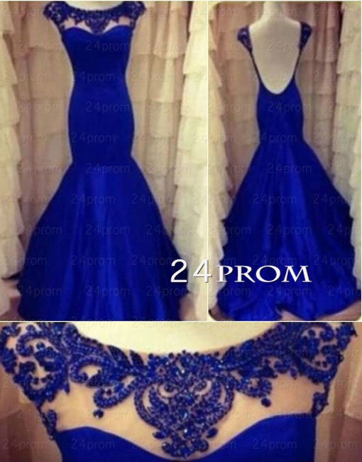 Round neckline A-line Chiffon Blue Prom Dresses, Evening Dress, Prom Dress 2015