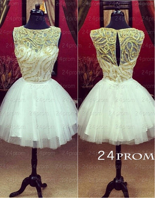 White A-line Round Neckline Tulle Short Prom Dresses, Homecoming Dresses