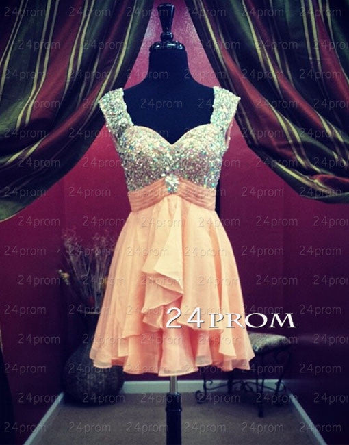Sweetheart Rhinestone Chiffon Short Prom Dresses, Homecoming Dresses