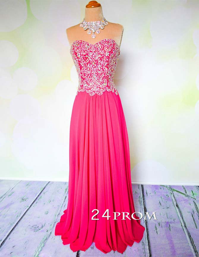 Sweetheart Red Chiffon Long Prom Dresses, Formal Dress