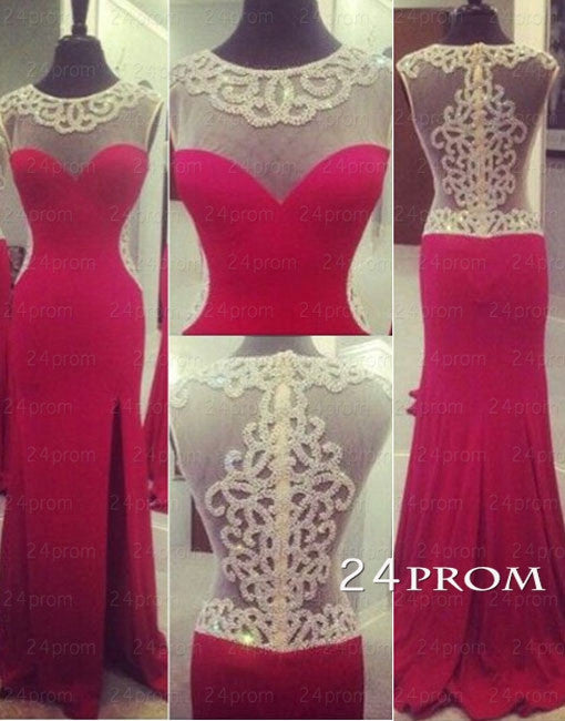 Red A-line round neckline Chiffon Long Prom Dresses, Evening Dresses