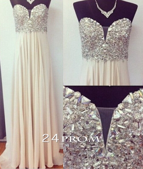 A-line Sweetheart Neckline Rhinestone Long Chiffon Prom Dresses, Evening Dresses