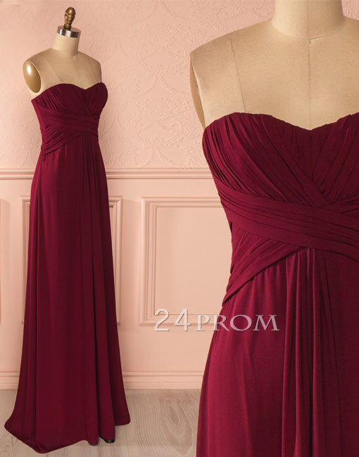Sweetheart neck chiffon Burgundy long prom dress, bridesmaid dress