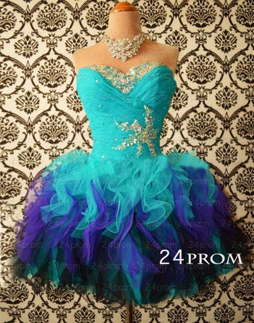Sweetheart Mini Rhinestone Organza prom dresses/homecoming dresses