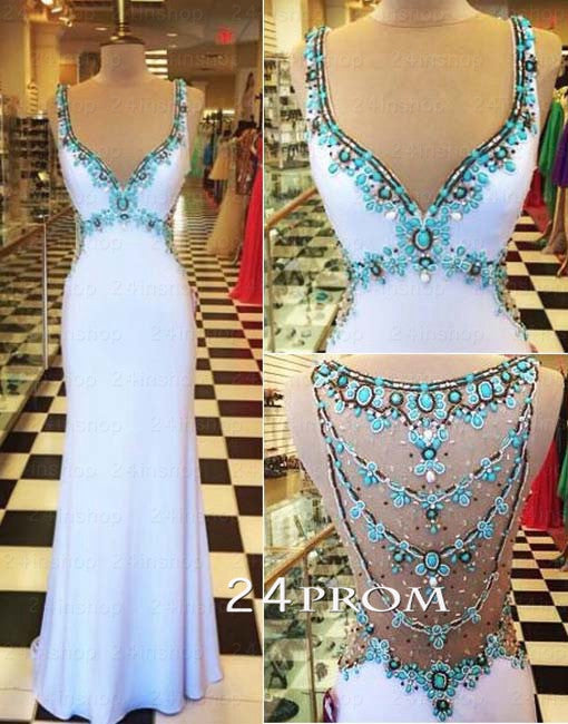 White V neckline Chiffon Rhinestone Long Prom Dresses, Formal Dress
