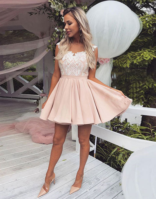 Pink lace satin short prom dress, pink homecoming dress