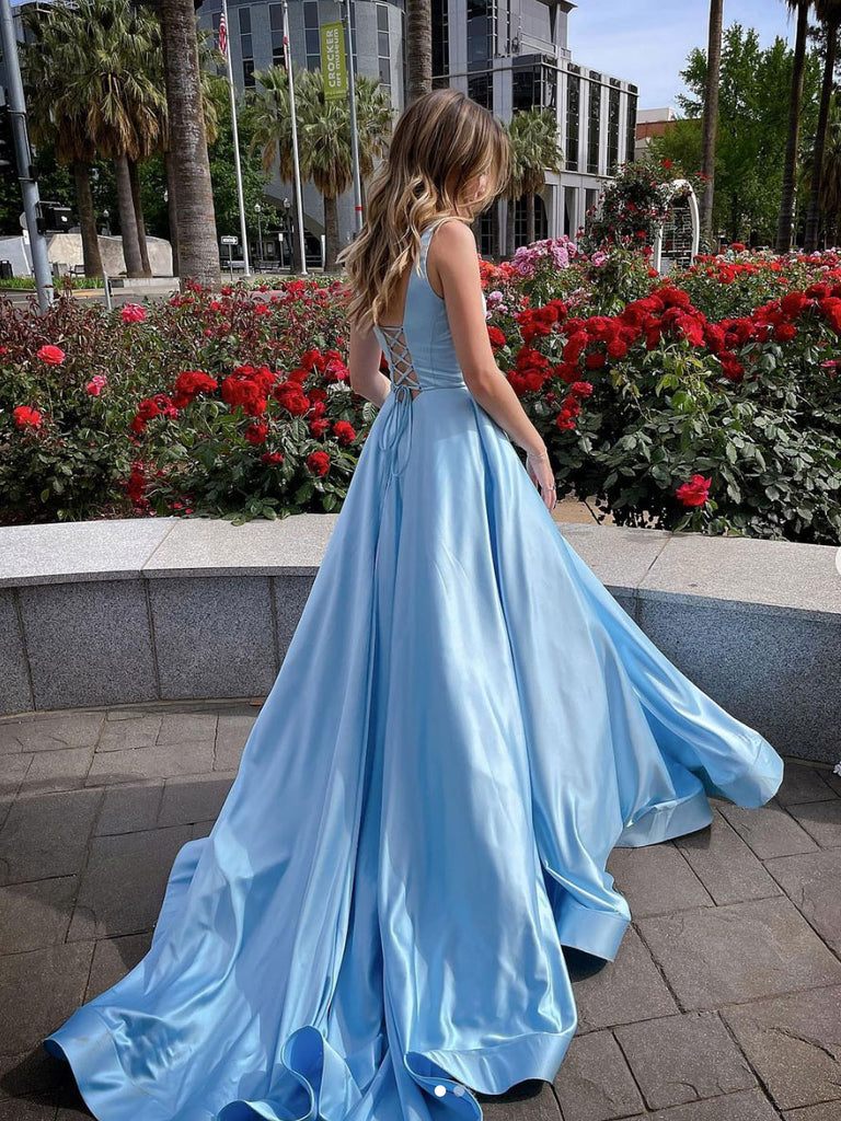 Simple Blue satin long prom dress blue satin evening dress