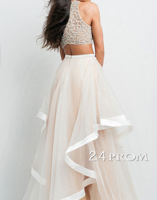 Apricot Tulle Sequin Flouncing Long Prom Dresses, Formal Dresss