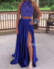 Blue sequin chiffon two pieces long prom dress, formal dress