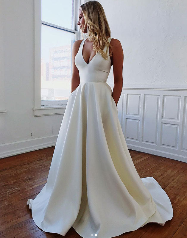 Simple satin long prom dress, white evening dress