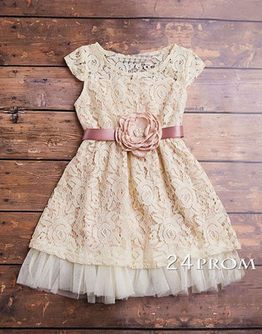 Champagne flower girl dress, lace baby dress, lace girls dresses
