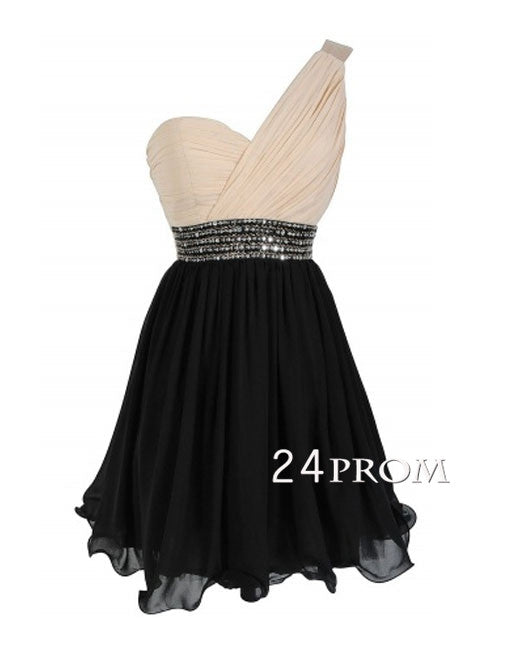 One shoulder Chiffon Short Prom Dress With Sequined Belt