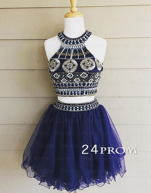 Dark blue rhinestone Sequin Tulle Short Prom Dress, Homecoming Dresses